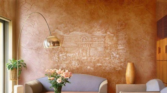 Обои под штукатурку: что лучше, декоративная венецианская, фото, можно ли клеить, стены в интерьере, видео
