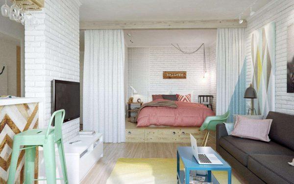 Дизайн комнаты 20 метров гостиная-спальня: фото интерьеров комнаты, проект совмещенной, зонирование от кухни
