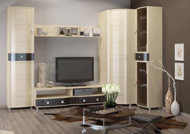 Современные угловые стенки в гостиную: стили модулей, фото для зала, белый шкаф