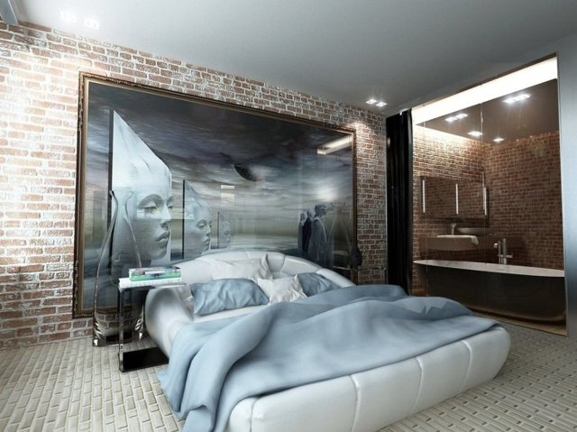 Спальня в стиле лофт: интерьер и дизайн, фото белой маленькой спальни, мужская и подростковая, современная готовая