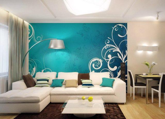 Бирюзовые обои: в интерьере, фото для стен, цвет коричневый и белый, с рисунком в комнату