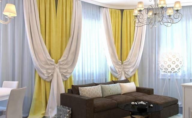 Шторы в гостиную: в современном стиле комбинированные, модели занавесок, фото двухцветные, ночные двух цветов