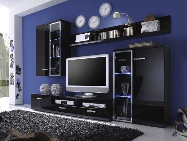 Современные стенки-горки в гостиную: фото стилей зала, Лазурит мини, угловые