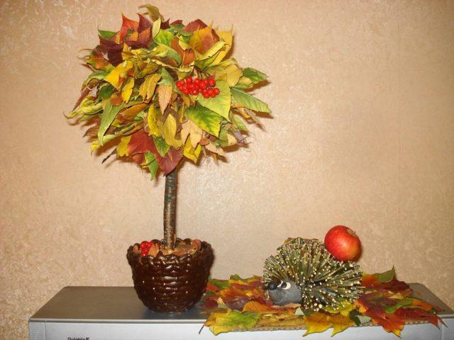 Топиарий осенний: мастер класс фото, своими руками поделка, дерево дары пошагово, золотая мк, букет из природных материалов на тему