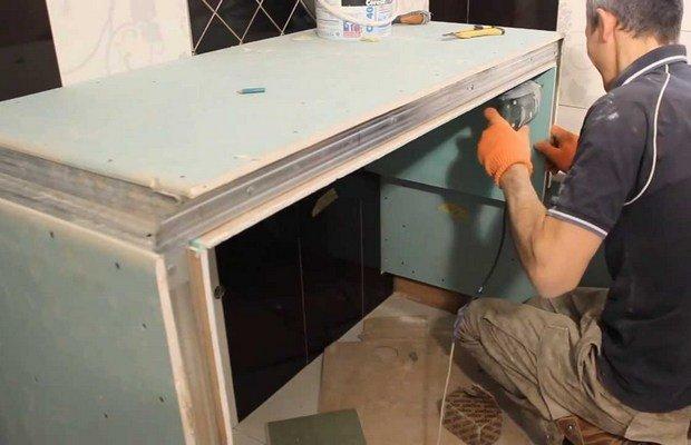 Столешница в ванной из гипсокартона: полки и ниша, тумбу как сделать самому под раковину и умывальник своими руками