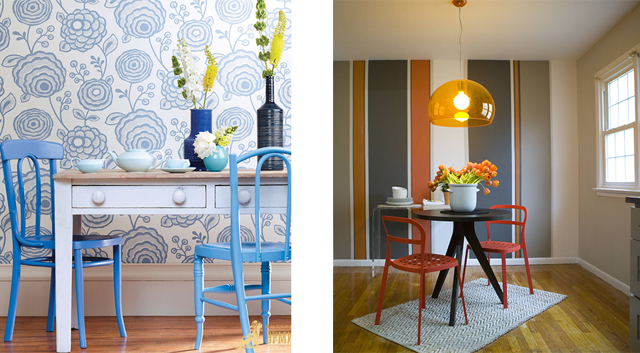 Комбинированные обои для кухни в интерьере фото: дизайн, как оклеить разными комбинациями, как выделить зону