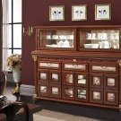 Серванты и буфеты для гостиной: для посуды фото, витрина угловая, белая мебель стеклянная, современная классика