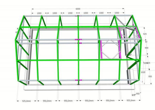 Теплица 5х6: парник12 и ширина 8 метров, поликарбоната размер