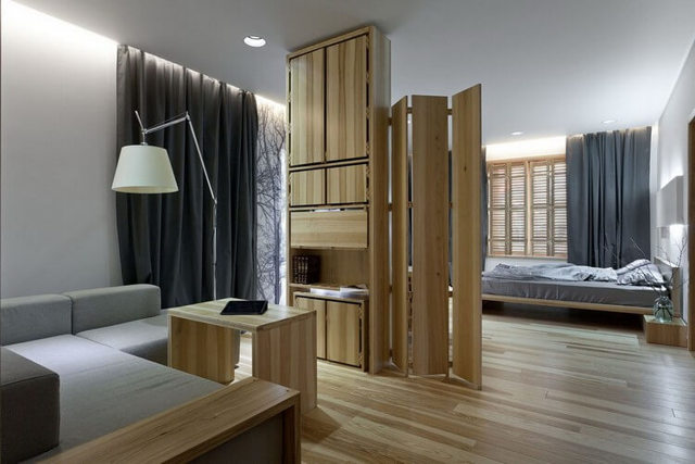 Зонирование спальни-гостиной 16 кв. м: зала дизайн, фото интерьера, комната совмещенная одна