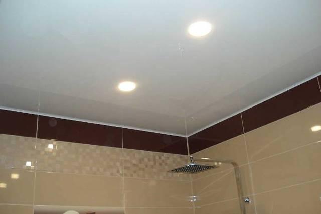Освещение в ванной комнате с натяжным потолком: фото светильников, как выбрать потолочные светодиодные