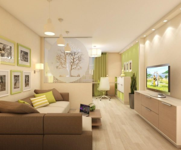 Дизайн гостиной-спальни 18 квадратов фото: комната в одном интерьере, проект и совмещение, идеи