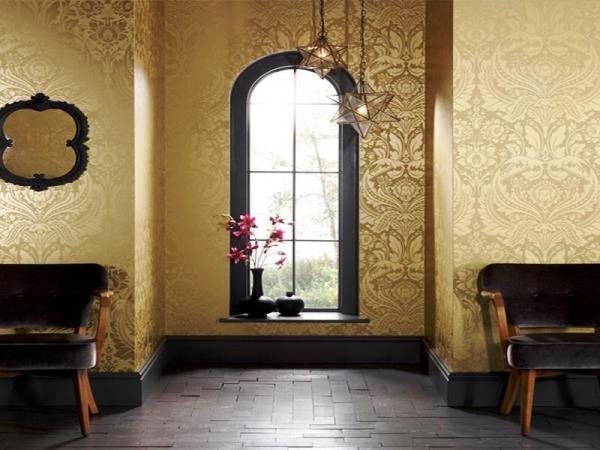 Синие обои: для стен в интерьере, фото темного фона, цвет белый и черный, с золотом в комнате