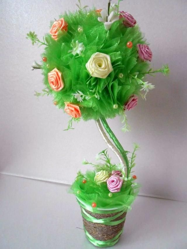 Топиарий из органзы: пошаговое фото и мастер-класс, своими руками из цветов, как сделать МК, красивые свадебные