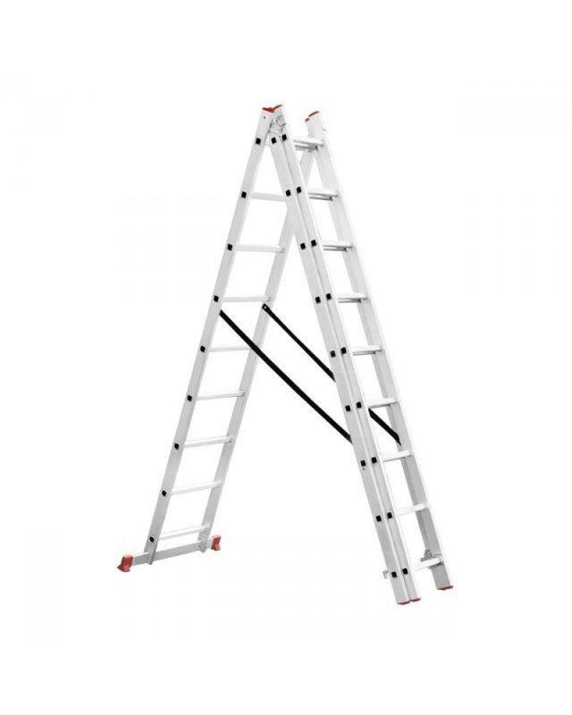 Алюминиевая 3-х секционная универсальная раскладная лестница: раздвижные секции, 3х14 и 12 метров трехколенная