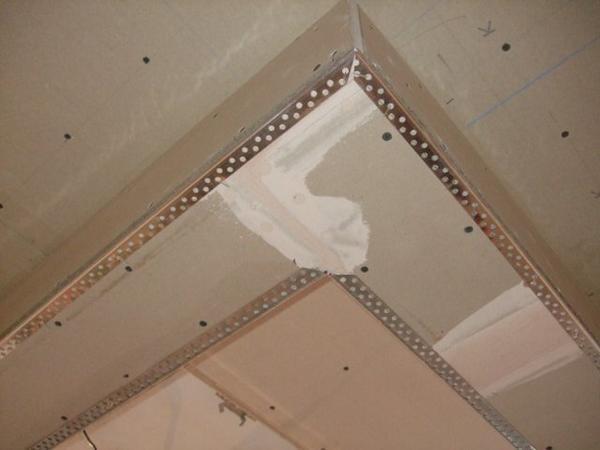 Углы из гипсокартона на потолке: угла фото и закругленный