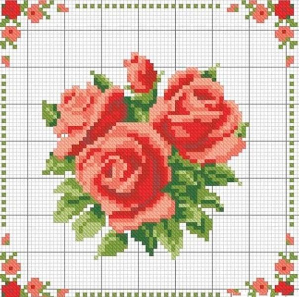 Вышивка крестом розы: букет большой, набор собирательницы, сиреневая в бокале и фужере, красные и белые