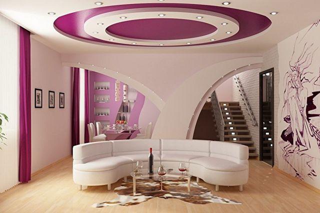 Двухуровневый потолок из гипсокартона и натяжной: фото, потолок без гипсокартона
