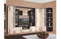 Стенки в гостиную: недорогие от производителя, фото Флора, вместительные цвета, большие виды, эконом со столом
