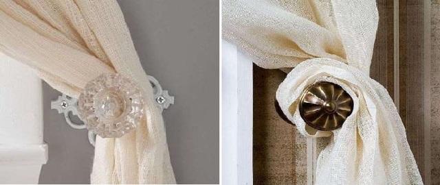 Подхваты для штор: фото слитых держателей в интерьере, подвязки своими руками, прихваты и зажимы, заколки и магниты