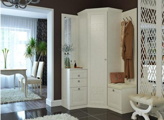 Встроенные шкафы-купе угловые в прихожую фото: в левый угол коридора