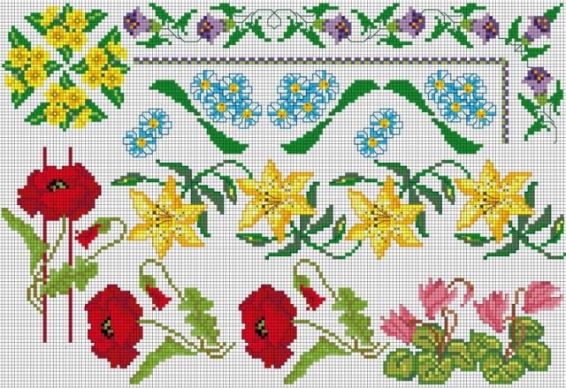 Схемы вышивки крестом маленьких цветов: небольшие цветочки бесплатно, мелкие простые картинки