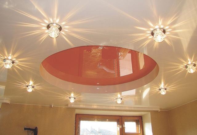 Сколько светильников на квадратный метр натяжного потолка: как расположить точечные светильники, фото