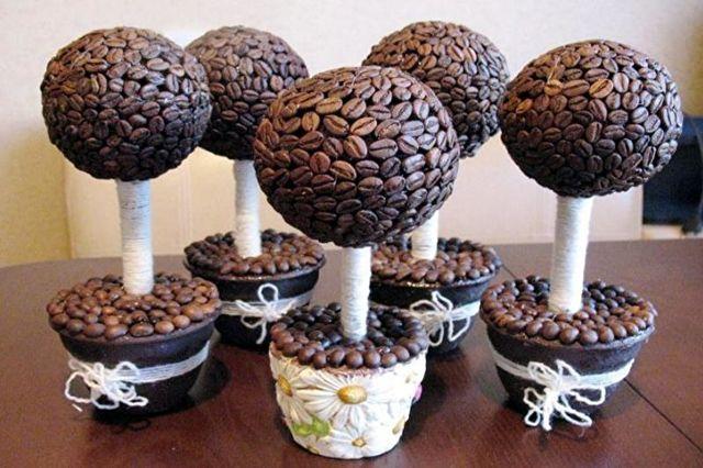 Топиарий елка: мастер-класс, как сделать МК, из кофе своими руками, в виде ниток