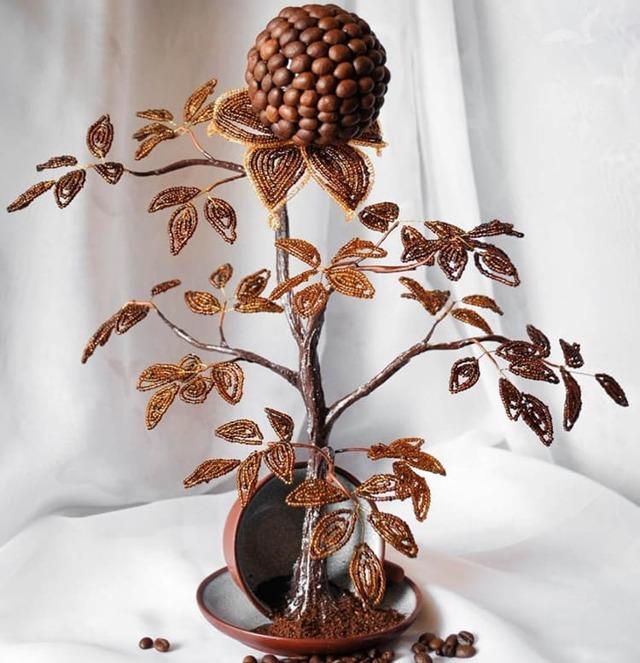 Топиарии из кофейных зерен: своими руками фото, мастер класс летящая чашка, как сделать видео, сердце мк, дерево