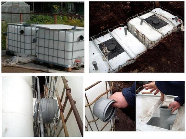 Септик из еврокубов: фото сделать своими руками, схема канализации, кубовые емкости на даче, выгребная яма