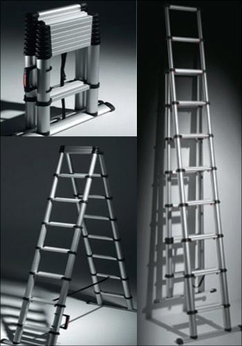 Лестница телескопическая: 5 метров алюминиевая, приставная sevenberg, трансформер 3х2 и 12, Шток и telesteps