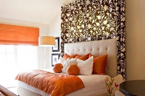 Оранжевые шторы: фото в интерьере, кухня с белым и коричневым, дизайн стен, какие шторы подойдут в гостиную