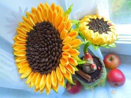 Топиарии из лент: своими руками из цветов, мастер-класс с пошаговыми фото, как сделать подсолнух, мк