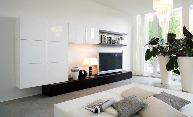 Белая мебель для гостиной: глянцевая в интерьере, дизайн и фото в зале, корпусная черно-белая, недорогой лак из Белоруссии