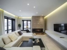 Дизайн интерьера гостиной в современном стиле фото: 16 м кв. и оформление стен в комнате, идеи для квартиры