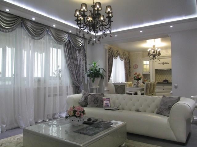 Перегородка между кухней и гостиной: фото, раздвижная из гипсокартона, декоративная стеклянная, как отделить