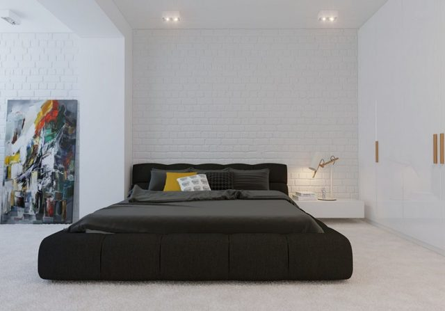 Спальня в стиле минимализм: фото интерьера, дизайн маленького гарнитура, минималистический хай-тек, большие